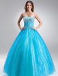 Ball-Gown Sweetheart Floor-Length Tulle Quinceanera Dress With Beading (021017115)