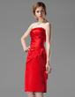 Sivu Olkaimeton Polvipituinen Satiini Morsiusneitojen mekko jossa Rypytys (007001801)
