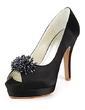 Women's Satin Stiletto Heel Peep Toe Platform Sandals With Beading (047020189)