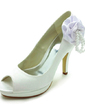 Women's Satin Cone Heel Peep Toe Platform Sandals With Imitation Pearl Satin Flower (047017786)