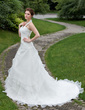 A-Line/Princess Halter Cathedral Train Organza Wedding Dress With Beading Cascading Ruffles (002001264)