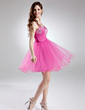 A-Line/Princess Sweetheart Short/Mini Tulle Homecoming Dress With Ruffle Beading Sequins (022020861)