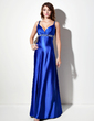 Empire V-neck Sweep Train Charmeuse Prom Dress With Ruffle Beading (018002669)