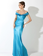 Trumpet/Mermaid Off-the-Shoulder Floor-Length Charmeuse Mother of the Bride Dress With Ruffle (008005637)