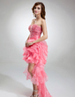 A-Line/Princess Sweetheart Asymmetrical Organza Prom Dress With Beading Cascading Ruffles (018016377)