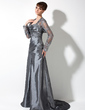 A-Line/Princess One-Shoulder Sweep Train Taffeta Mother of the Bride Dress With Ruffle Lace Beading (008006082)