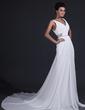 A-Line/Princess V-neck Chapel Train Chiffon Bridesmaid Dress With Ruffle Beading (007017344)