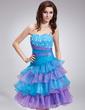 Çan/Prenses Kalp Kesimli Diz Hizası Organza Mezunlar Gecesi Elbisesi (022011014)