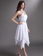 A-Line/Princess Halter Tea-Length Chiffon Homecoming Dress With Ruffle Beading Sequins (022016277)