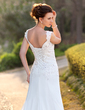 A-Line/Princess V-neck Court Train Chiffon Wedding Dress With Lace Beading Sequins (002000159)