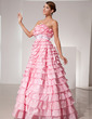 Ball-Gown Strapless Floor-Length Taffeta Prom Dress With Sash Bow(s) (018014476)