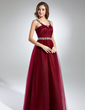 A-Line/Princess Scoop Neck Floor-Length Tulle Prom Dress With Ruffle Beading (018024404)