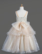 A-Line/Princess Tea-length Flower Girl Dress - Organza Sleeveless Square Neckline With Ruffles/Bow(s) (010014606)