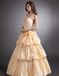 A-Line/Princess Sweetheart Floor-Length Taffeta Quinceanera Dress With Ruffle Beading Appliques Lace Flower(s) (021016248)