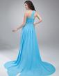 A-Line/Princess One-Shoulder Asymmetrical Chiffon Prom Dress With Beading Cascading Ruffles (018021109)