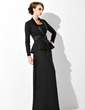 Sheath/Column Scoop Neck Floor-Length Chiffon Mother of the Bride Dress (008005947)