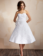 Ball-Gown Sweetheart Knee-Length Organza Wedding Dress With Ruffle Feather Flower(s) (002012097)