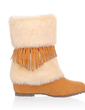 Leatherette Low Heel Mid-Calf Boots Snow Boots With Rhinestone Tassel Fur shoes (088033839)