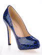 Patent Leather Stiletto Heel Pumps Platform Closed Toe With Animal Print shoes (085017491)