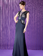 A-Line/Princess Scoop Neck Floor-Length Satin Mother of the Bride Dress With Lace Beading Sequins (008019767)
