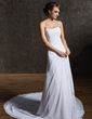 A-Line/Princess Sweetheart Chapel Train Chiffon Wedding Dress With Ruffle Beading (002000462)