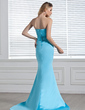 Trumpet/Mermaid Sweetheart Court Train Charmeuse Evening Dress With Beading (017005304)