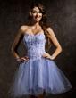 Çan/Prenses Kalp Kesimli Kısa/Mini Satin Tulle Mezunlar Gecesi Elbisesi Ile Boncuklama Pullarda (022008121)