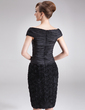 Sheath/Column Off-the-Shoulder Knee-Length Taffeta Lace Mother of the Bride Dress With Ruffle Flower(s) (008006089)
