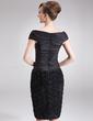 Wąska Off-the-ramię Do Kolan Tafta Koronka Suknia dla Mamy Panny Młodej Z Żabot Kwiat(y) (008006089)