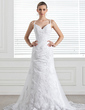 A-Line/Princess Sweetheart Chapel Train Tulle Wedding Dress With Appliques Lace (002004546)