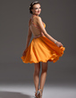 A-Line/Princess Halter Knee-Length Chiffon Homecoming Dress With Ruffle Beading (022007283)