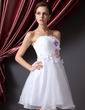A-Line/Princess Sweetheart Short/Mini Organza Homecoming Dress With Ruffle Flower(s) Bow(s) (022014225)