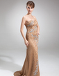 Sheath/Column Sweetheart Sweep Train Satin Mother of the Bride Dress With Beading Appliques Lace Sequins (008016849)