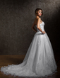 Ball-Gown Sweetheart Chapel Train Satin Organza Wedding Dress With Ruffle Appliques Lace (002004784)