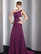A-Line/Princess One-Shoulder Sweep Train Chiffon Evening Dress With Ruffle (017014815)