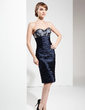 Sheath/Column Sweetheart Knee-Length Charmeuse Cocktail Dress With Ruffle Beading Appliques Lace (016021187)