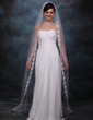 One-tier Chapel Bridal Veils With Lace Applique Edge (006002241)