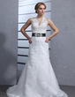 Trumpet/Mermaid Halter Chapel Train Organza Wedding Dress With Sash Beading Appliques Lace (002000084)