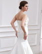 Trumpet/Mermaid Scalloped Neck Chapel Train Satin Wedding Dress With Beading Appliques Lace Sequins Bow(s) (002000079)
