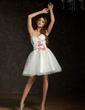 Çan/Prenses Kalp Kesimli Kısa/Mini Tulle Mezunlar Gecesi Elbisesi Ile Büzgü Boncuklama Aplike Çiçek(ler) (022011444)