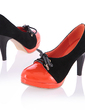 Patent Leather Cone Heel Pumps Platform Closed Toe With Split Joint shoes (085022841)