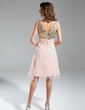 A-Line/Princess V-neck Knee-Length Chiffon Tulle Sequined Homecoming Dress With Ruffle (022015374)