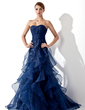 A-Line/Princess Sweetheart Sweep Train Organza Prom Dress With Cascading Ruffles (018004861)