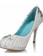 Women's Real Leather Cone Heel Closed Toe Platform Pumps With Rhinestone Crystal Heel (047033929)