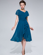 A-Line/Princess Asymmetrical Chiffon Mother of the Bride Dress With Ruffle Cascading Ruffles (008033514)