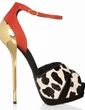 Suede Leatherette Stiletto Heel Sandals Platform Peep Toe With Animal Print shoes (085026629)