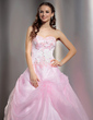 Ball-Gown Sweetheart Floor-Length Organza Quinceanera Dress With Lace Beading (021004728)