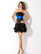 Empire Strapless Short/Mini Satin Sequined Homecoming Dress With Ruffle Sash (022010571)