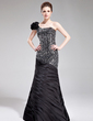 Trumpet/Mermaid One-Shoulder Floor-Length Charmeuse Sequined Evening Dress With Ruffle Flower(s) (017019444)