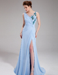 A-Line/Princess V-neck Sweep Train Chiffon Evening Dress With Ruffle Beading Sequins Split Front (017019562)